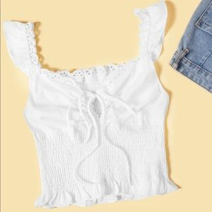 Shirred Lettuce Frill Knot Top